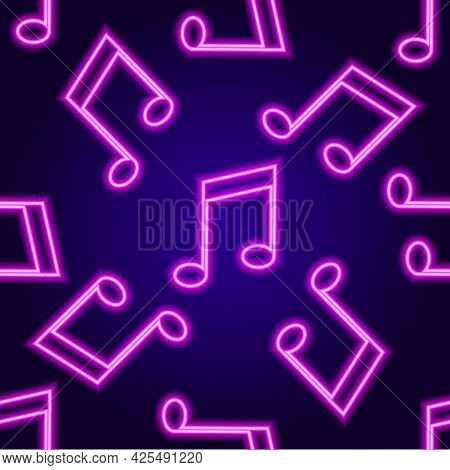 Vector Neon Signboard Pattern Of Musical Tone, Pink Color On A Dark Background. Vector Seamless Patt
