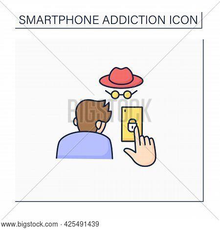 Smartphone Addiction Color Icon. Concealing Smartphone Use. Incognito Mode. Anonymous. Private Setti