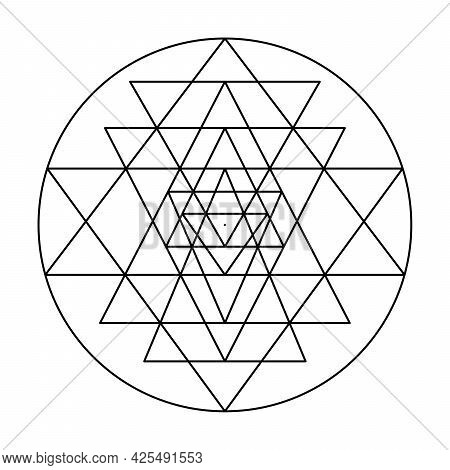 Nine Interlocking Triangles Of Sri Yantra, That Surround A Central Point, Known As Bindu, The Cosmic