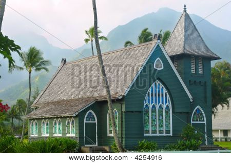 Old Green Church In Hawaii