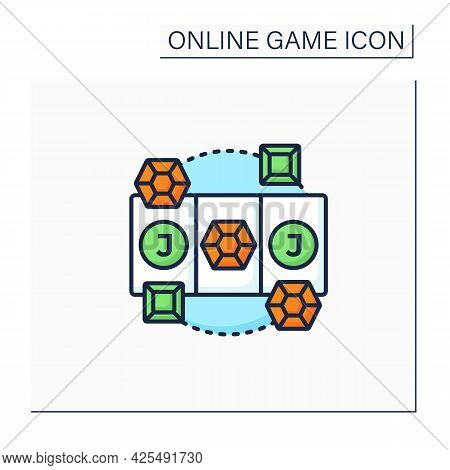 Diamond Game Color Icon. Swap Diamonds. Three In Row. Jackpot. Online Game Concept. Isolated Vector
