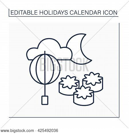 Moon Festival Line Icon. Mid-autumn Festival. Observing Full Moon Rise And Eating Moon Cakes. Romant