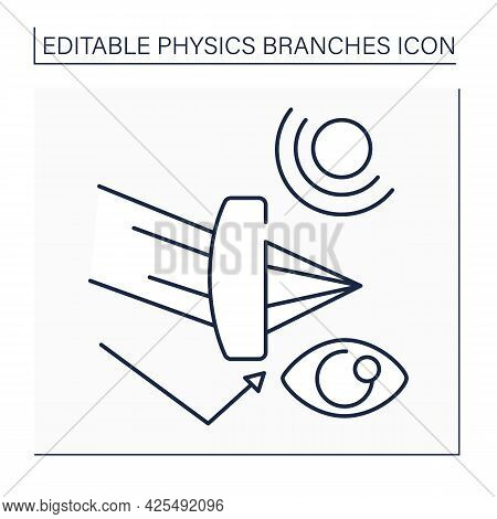 Optics Line Icon. Optical Radiation. Light Behavior And Properties. Ultraviolet, And Infrared Light.