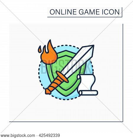 Rpg Game Color Icon. Role Played Strategy Action. Players Determine Game Ending.solving Mysteries, S