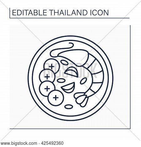 Tom Yum Goong Line Icon. Thai Soup. Traditional Dish With Fresh Shrimp, Lemongrass, Kaffir Lime Leav