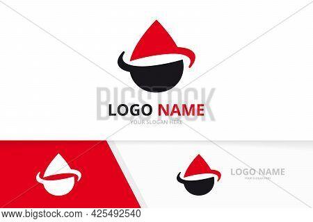 Water Drop Logo Combination. Natural Aqua Droplet Logotype Design Template.