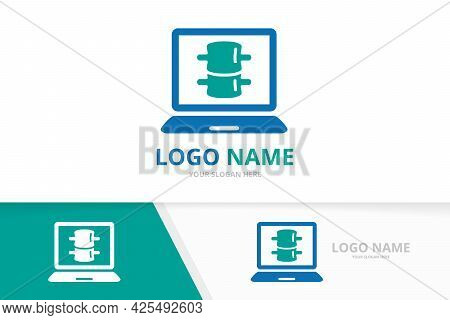 Spine And Notebook Logo Combination. Vertebral Column And Laptop Logotype Design Template.