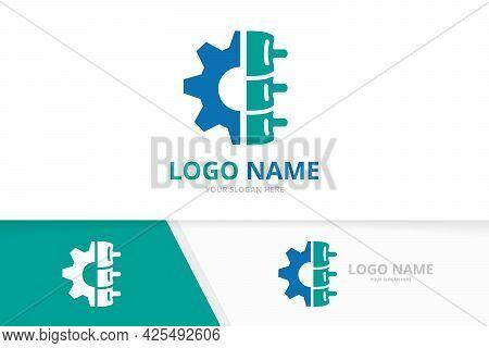 Vector Spine And Gear Logo Combination. Factory Vertebral Column Logotype Design Template.