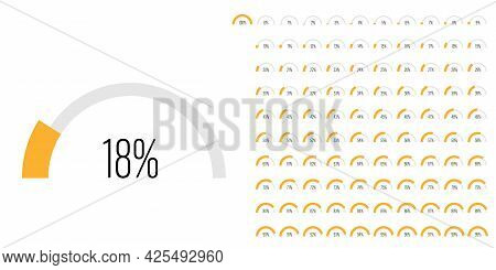 Set Of Semicircle Arc Percentage Diagrams Progress Bar Meters From 0 To 100 Ready-to-use For Web Des