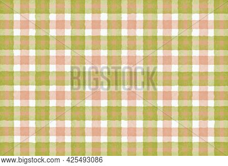 Green Olive Orange Pink Checkered Old Vintage Background With Blur, Gradient And Grunge Texture. Cla