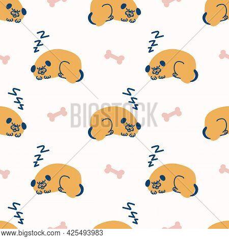 Seamless Sleeping Cartoon Pet Dog Doodle Pattern. Whimsical Minimal 2 Tone Gender Neutral Color. Kid