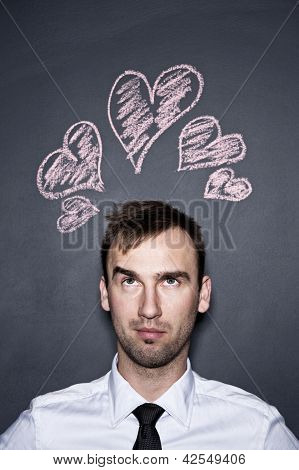 Man And Chalk Drawn Hearts, Blackboard Wall