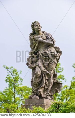 Kuks, Czech Republic - May 15, 2021. Figure Symbolizing Sincerity - Honesty