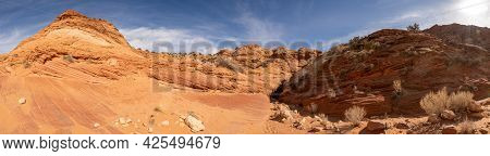 Panorama Of The Entrace To Buckskin Gulch From Wire Pass
