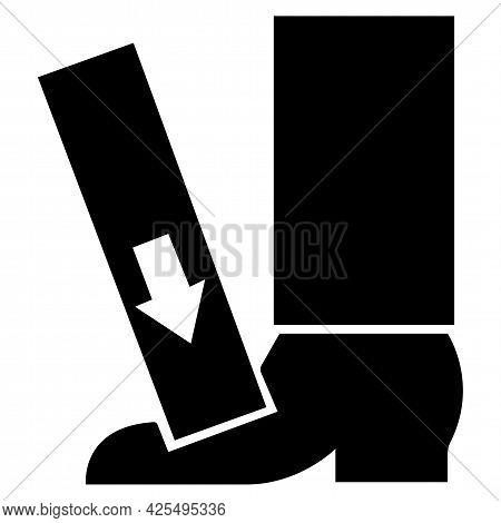 Foot Crush Force From Above Symbol Sign On White Background