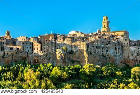 View Of The Medieval Town Of Pitigliano In Tuscany, Italy