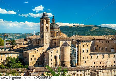 Ducal Palace And Cathedral In Urbino. Unesco World Heritage In Marche, Italy
