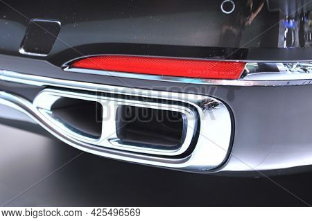 Exhaust Pipe Car Automobile Muffle Close Up