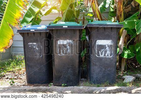 Garbage Trash Bins For Waste Segregation. Separate Waste Collection Food Waste, Infection, Biodegrad