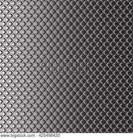 Silver Monochromic Geometric Ring Mail Armor Pattern On Gradient Monochromatic Background.