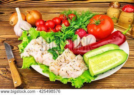Plate With Sliced Fresh Pork Lard, Fresh Produce, Vegetables On The Wooden Table