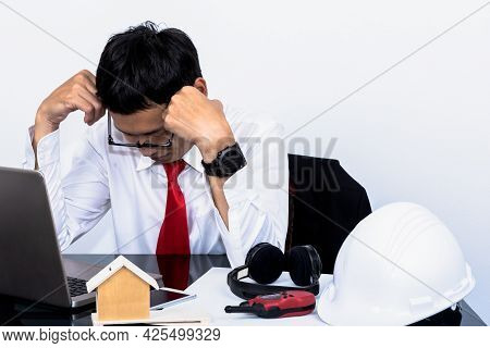 Asian Real Estate Business Man Are Stressed By Unsuccessful Sales, At Workplace With White Backgroun