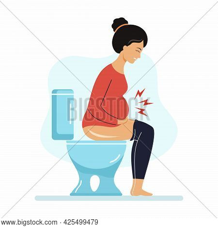 Pregnant Woman Is Sitting On  Toilet. Constipation During Pregnancy. Digestive Problems.
