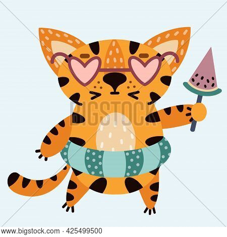 Cute Cartoon Striped Tiger. The Cat In Sunglasses Eats Ice Cream In The Form Of A Watermelon Slice.