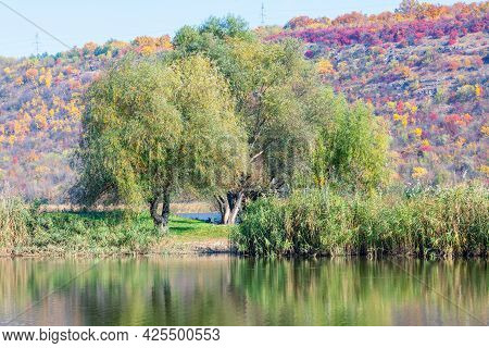 Idyllic Nature With Lake . Place For Fishing . Perfect Weather Scenery