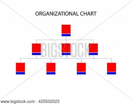 Organizational Chart Isolated On White Background And Texture.