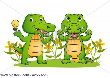The Couple Of The Crocodile Is Having A Brilliant Idea In The Garden Of Illustration