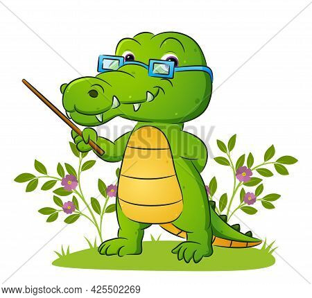 The Old Teacher Of The Crocodile Is Teaching In The Yard Of Illustration