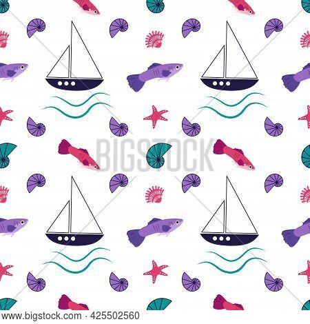 Bright Marine Pattern With Fantastic Fish, Ships, Starfish And Shells. Magic Print With Sea Items Fo