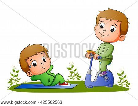 The Boys Are Doing The Sport With Sit Up And Cycling In The Static Bike Of Illustration