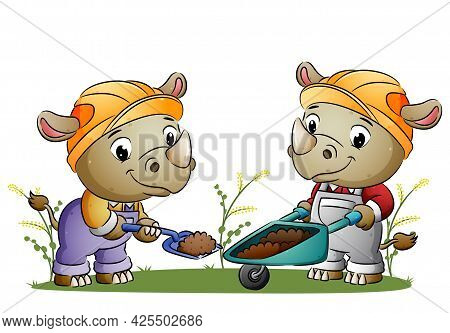 The Couple Builder Rhino Is Digging The Ground And Move To The Wheelbarrow Of Illustration