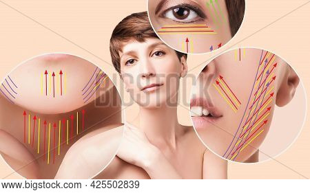 Beautiful Woman Ready For Cosmetic Surgery. Young Female With Clean Fresh Skin. Female Face And Neck