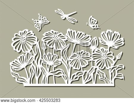 Panel With Flowers And Insects. Flowerbed, Field Meadow With Chamomiles, Poppies, Butterflies, Drago