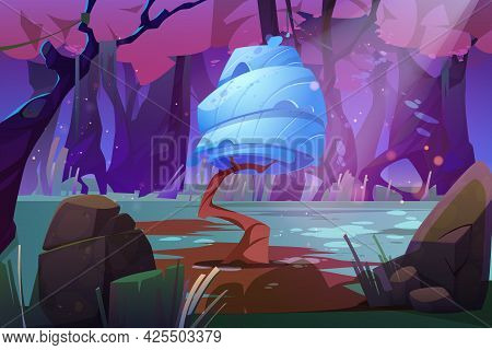 Fantasy Landscape With Huge Mushroom In Forest Pond Or Swamp. Alien Or Magic Unusual Nature, Compute
