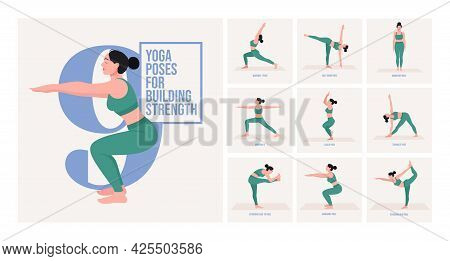 Yoga Poses For Building Strength. Young Woman Practicing Yoga Pose. Woman Workout Fitness, Aerobic A