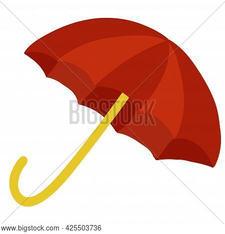 Red Open Umbrella Isolated On White Background.