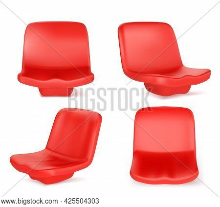 Stadium Seats, Red Plastic Chairs Front And Angle View. Equipment, Place For Visitors Of Outdoor Com
