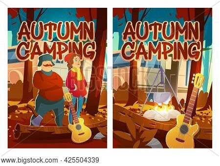 Autumn Camping Cartoon Posters, Man And Woman Tourists With Rv Caravan, Campfire And Guitar In Fall