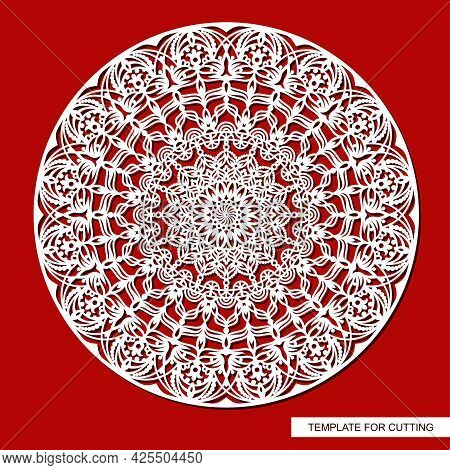 Decorative Panel With A Mandala. Round Openwork Element. Abstract Floral Pattern, Carved Decor, Magi