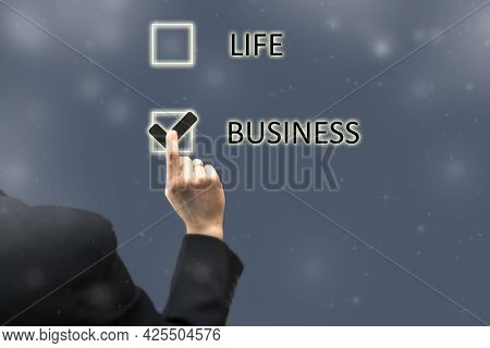 Balance Between Family Life And Business Career Concept. Businessman Chooses Personal Life Sacrifici