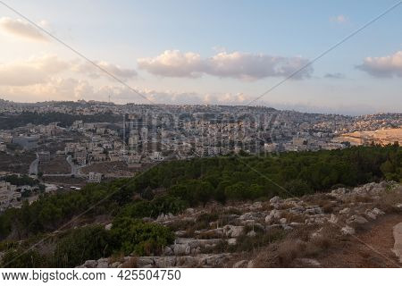 Landscape From The Jumping Mountain In Nazareth. Panoramic View. Sunset. High Quality Photo