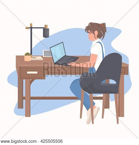 Young Woman Freelancer Sitting At Workplace Using Laptop Coronavirus Quarantine Freelance Concept
