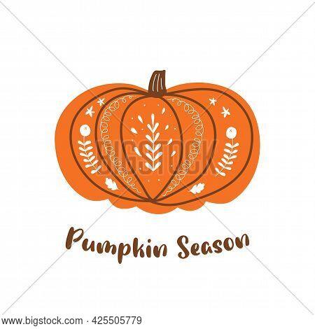 Halloween Pumpkin. Autumn Pumpkin Harvest Festival. Thanksgiving Day Graphic Element Isolated