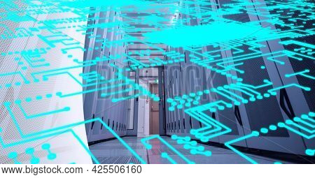Neon blue microprocessor connections against computer server room in background. cyber security and data storage technology concept