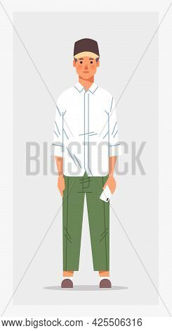 Casual Guy Holding Smartphone Male Cartoon Character Standing Pose Full Length Vertical
