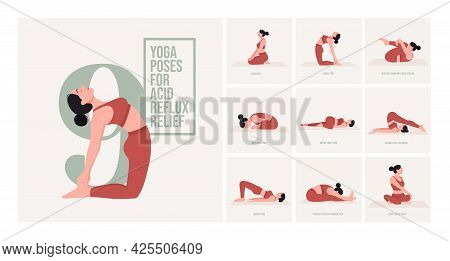 Yoga Poses For Acid Reflux Relief. Young Woman Practicing Yoga Pose. Woman Workout Fitness, Aerobic
